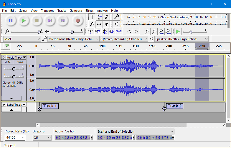 audacity look on audio