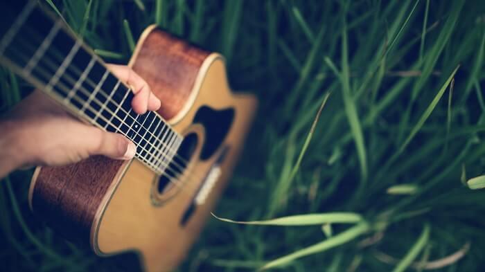 acoustic guitar in nature